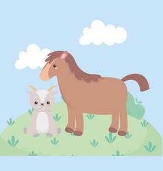 Cute horse and goat grass bush cartoon animals in vector
