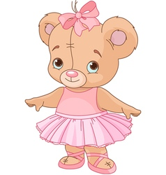 Cute teddy bear ballerina vector