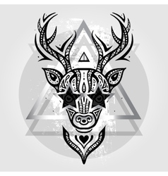 Deer head Tribal pattern vector