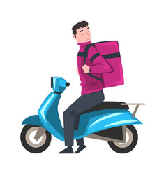 delivery man riding blue scooter with parcel box vector image