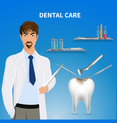 Dental care realistic composition vector