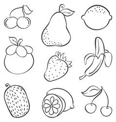 Doodle of fruit various style hand draw vector
