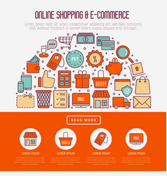 e-commerce shopping concept in half circle vector image