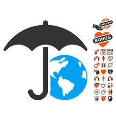 Earth umbrella icon with lovely bonus vector