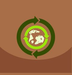 earth with arrows in logo organic life symbol eco vector image