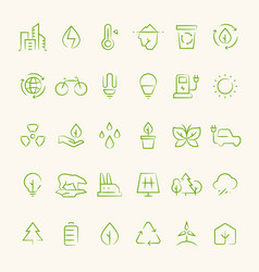 Ecology and recycling outline symbols eco vector