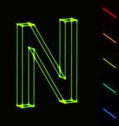 EPS10 glowing wireframe letter N - easy to change vector image