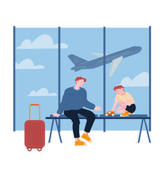father traveling with son on summer vacation vector image