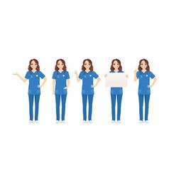 female nurse character set vector image