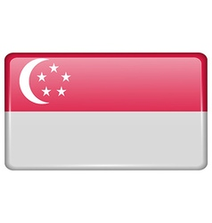 Flags Singapore in the form of a magnet on vector