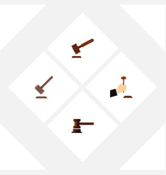 Flat icon hammer set of tribunal justice law and vector