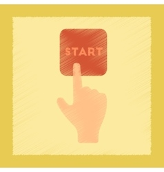 Flat shading style icon hand button start vector