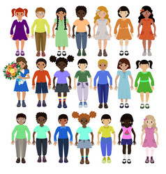 funny kids different races with various vector image