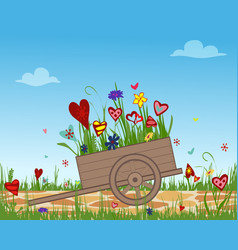 garden cart with blossoming hearts on sky vector image