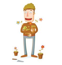 gardener and some flowers in pots vector image