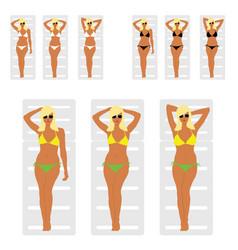 girl blonde in bikini on white deckchair leisure vector image