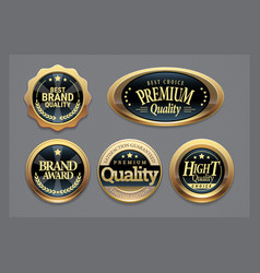 golden badges collection vector image