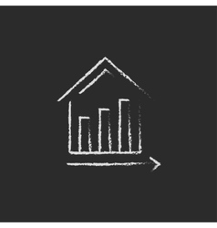 Graph of real estate prices growth icon drawn in vector image