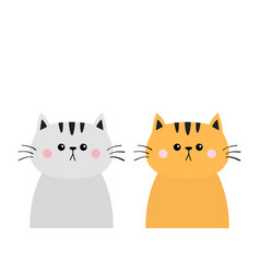 gray orange red cat sad head face silhouette icon vector image