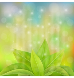 Green leaves sprout in a magical light vector