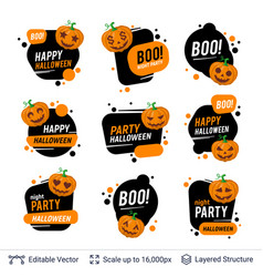 halloween badges set carved pumpkins and text vector image