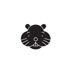 hamster head black concept icon hamster vector image
