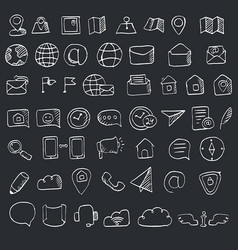 Hand drawn contacts icon set hand drawn contacts vector