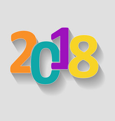 happy new year 2018 color background with shadow vector image