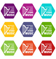 harp icons set 9 vector image