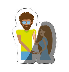 Hipster man with beauty girl shadow vector