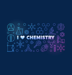 i love chemistry colored banner - chemical vector image