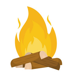 isolated wood and flame design vector image