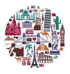 landmark travel icons in form a circle vector image