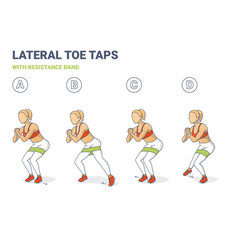Lateral toe taps with resistance band girl vector