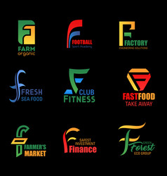 letter f creative abstract business identity icons vector image