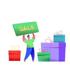 man with sale poster present boxes vector image