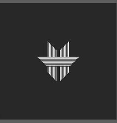 modern monogram letter h logo spiky shape vector image