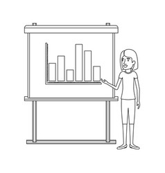 Monochrome silhouette of businesswoman with short vector