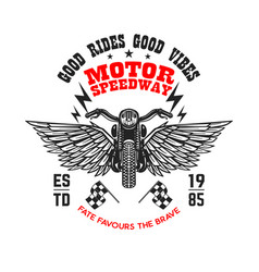 Motor speedway poster template with winged vector