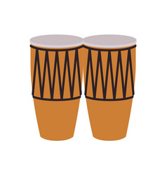 Musical instrument congas on white background vector