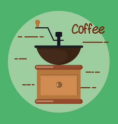 old fashioned manual coffee burr mill vector image