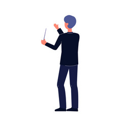 orchestra conductor man holding baton stick and vector image