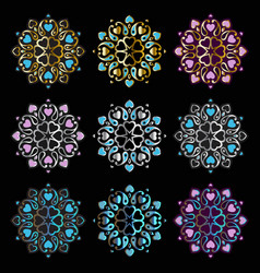 Ornament mandala on black background vector