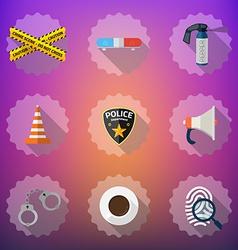 Police security flat icon set include road cone vector