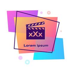 Purple movie clapper with inscription xxx icon vector