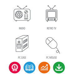 Radio retro tv and pc mouse icons vector