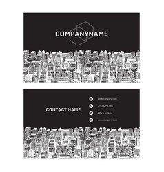 Real estate business card with hand drawn vector