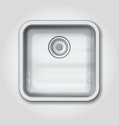 Realistic shiny clear metallic kitchen sink top vector