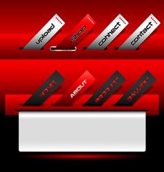 Red buttons ticket website menu vector