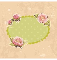 Retro-style floral invitation postcard vector